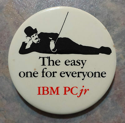 "IBM PC Jr Charlie Chaplin 'The easy one for everyone' Advert Pinback 2.5"" 1980s"