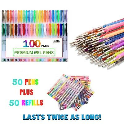 Gel Pens Ink Ball Point Pen 100 PACK 50 + 50 Set Pastel Neon Glitter Metallic