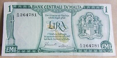 1967 + Central Bank of Malta £M1 One Pound Banknote