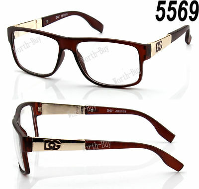 DG Eyewear Clear Lens Frame Glasses Fashion Womens Designer Square Nerd Brown