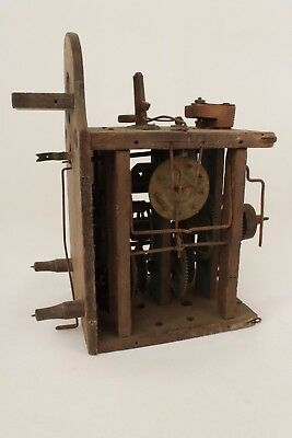 Antique Black Forest Postmans Alarm Clock Wooden Movement For Spares or Repair