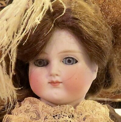 "Antique Perfect German 15"" 658 ABG Closed Mouth Bisque Doll w/Outfit & Orig Wig"