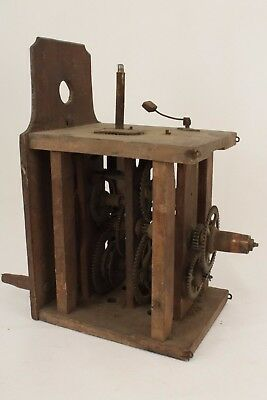 Antique Black Forest Postmans Clock Wooden Movement For Spares or Repair