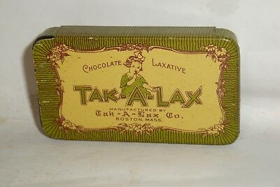 Nice Old Litho Tak-A-Lax Laxative Advertising Pharmaceutical Medicine Tin Can
