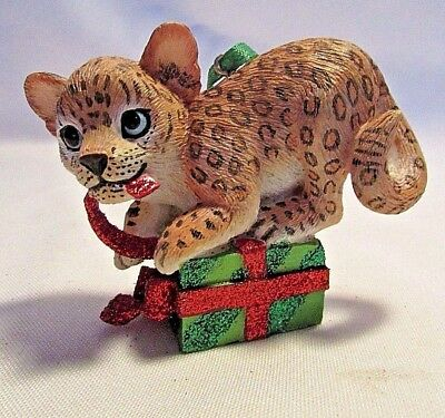 Danbury Mint LEOPARD   Baby Animals Christmas Ornament with Tag
