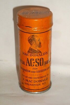 Nice Old Litho Macdonald's Laxative Advertising Pharmaceutical Medicine Tin Can