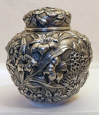 A repousse sterling tea caddy, Hodgson. Kennard & Co., Inc, c.1896-1940