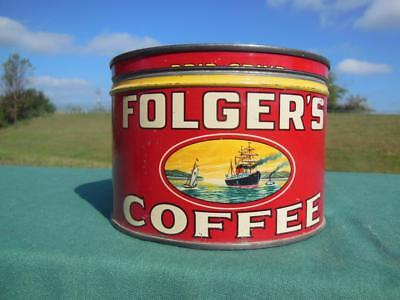 VINTAGE FOLGER'S COFFEE TIN CAN 1lb ADVERTISING KEY WIND GOLDEN GATE BRAND + LID