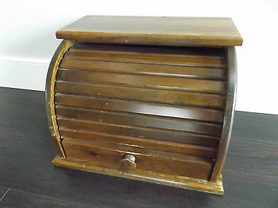 Vintage Wooden Bread Box Roll Top Country Kitchen or Farm House Decor