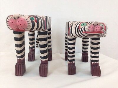 Wood Hand Made Crafted Stripe Flat Top Decorative Male Female Tigers Cool Cats