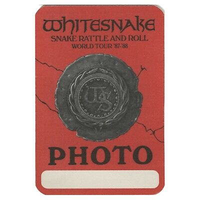 Whitesnake authentic 1987 Snake Rattle & Roll Tour backstage pass photo red