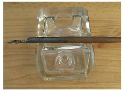 Vintage Single Glass Inkwell with Pen Rest (Victorian)