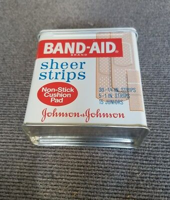 """VINTAGE """"JOHNSON & JOHNSON"""" BAND-AID SHEER STRIPS EMPTY TIN...  made in USA."""