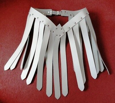 Quality Custom made Real Leather White Gladiator style skirt / belt Cosplay