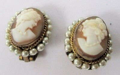 Pair gorgeous vintage gold metal, pearl & carved shell cameo earrings