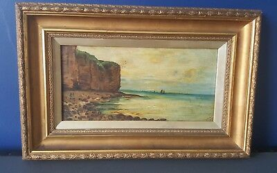Antique Edwardian Oil Painting Jurassic Coastal Scene In Gold Gilt Frame signed
