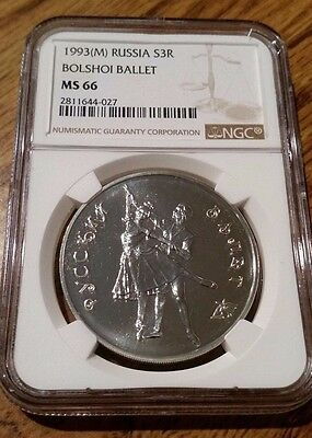 Russia 1993 Silver 3 Roubles Bolshoi Ballet NGC MS-66