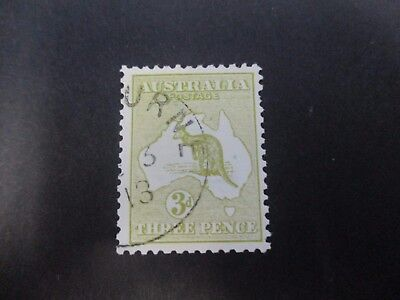 Kangaroo Stamps: 3d Olive 1st Watermark CTO   (A3)
