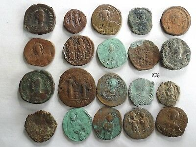 Lot of 20 Uncleaned Ancient Roman Byzantine Coins; 205 Grams!