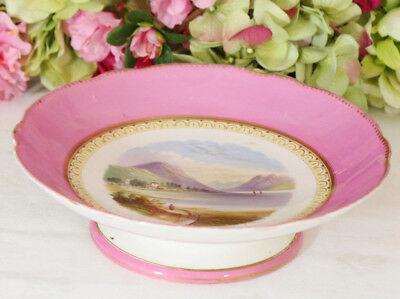 """English Porcelain Low Compote Hand Painted, Scotland Scenes """"Loch Long"""""""