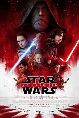 STAR WARS THE LAST JEDI Original DS 27x40 Movie Poster FINAL VERSION Mark Hamill