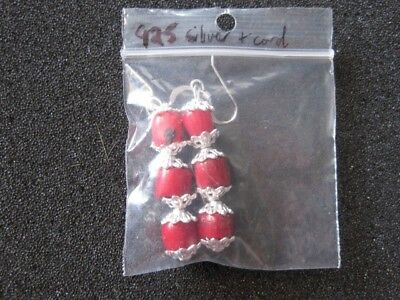 Earrings Native Made Coral Beads .925 Hooks  & Spacers Indian