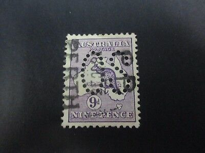 Kangaroo Stamps: 9d Violet 1st Watermark Large Perf OS Used  (A8)