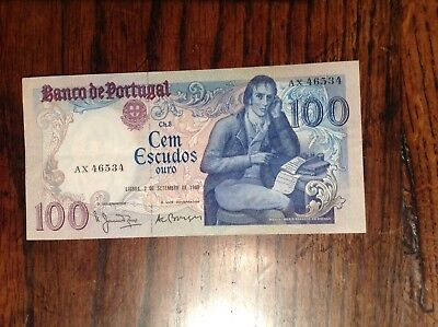 Almost Uncirculated 1980 Portugal 100 Escudos Bank Note.