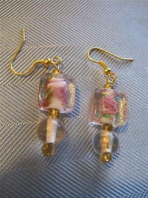 Vtg Retro Clear with Art Glass Centers Dangly Pierced Earrings Beautiful