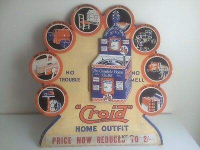 Vintage Original Counter Display Board for 'Croid' The Complete Home Outfit 1950