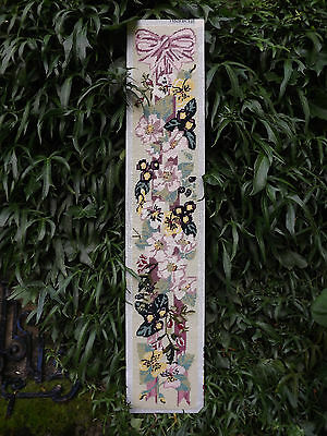 HEDGEROW FLOWERS RIBBON&ROSES GARLAND Completed Needlepoint Long Panel VINTAGE