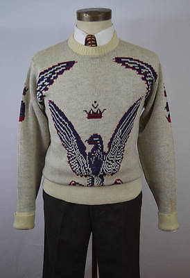 Vintage 1950s Eagle Novelty Weave Crew Neck Sweater by Revere Size Small