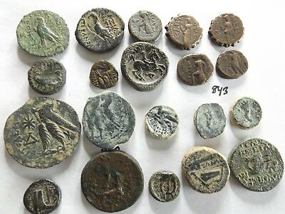 Lot of 20 Higher Quality Uncleaned Ancient Greek Coins; 73 Grams!