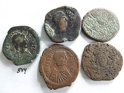 Lot of 5 Mixed Quality Uncleaned Ancient Roman Byzantine Coins; 71 Grams!