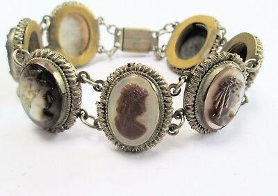 Stunning vintage Deco gold metal & carved mother-of-pearl shell cameo bracelet