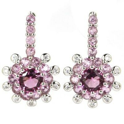 Stunning Pink Tourmaline SheCrown Wedding Silver Earrings