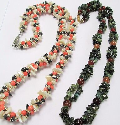 Two good vintage gemstone bead necklaces (m-o-p. moss agate, carnelian, coral)