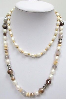 Good long vintage hand knotted cultured pearl, agate & m-o-p bead necklace + 1