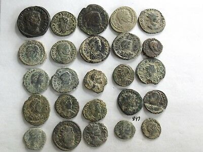 Lot of 25 Uncleaned Ancient Late Roman Coins; 77 Grams!