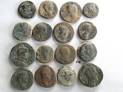 Lot of 16 Lower Quality Uncleaned Larger Ancient Early Roman Coins; 188 Grams!
