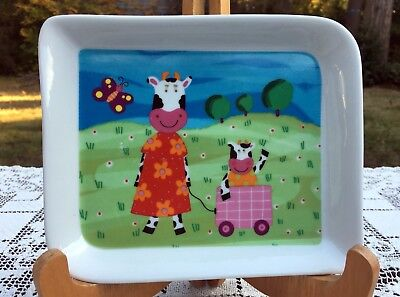 """Andrea Fontebasso 1760 Fine Porcelain Plate COW MOTHER & CHILD in Wagon 7.5 x 6"""""""