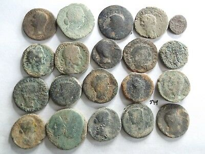 Lot of 20 Low Quality Uncleaned Larger Ancient Early Roman Coins; 208 Grams!