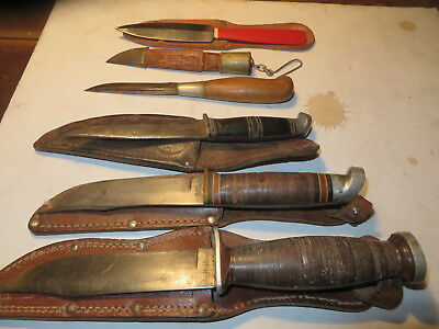 Lot of 5 vintage fixed blade knives w/ orig sheaths    LOOK!