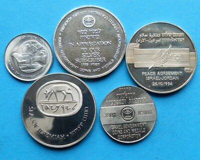 ! ISRAEL 5x, MEDALS MEDAILLEN 1981 - 1997 25,5 mm 30 mm + 39 mm 3x with numbers