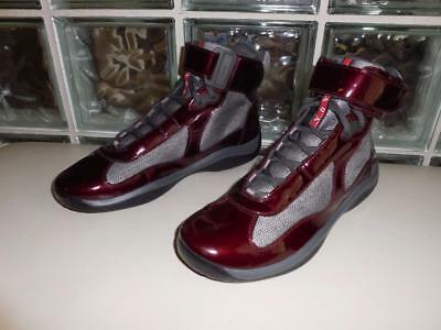 Top Prada Authentic Patent High Leather Mens Burgundy Size Sneakers ZxxqPO