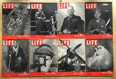 Lot of 8 Vintage 1942 - 1943 LIFE Magazines from WWII era