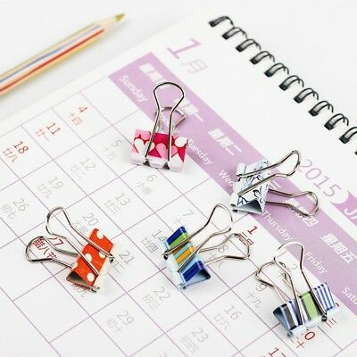 24 PCS Small Size 38mm Printed Metal Binder Clips Paper Clip Clamp Office Color