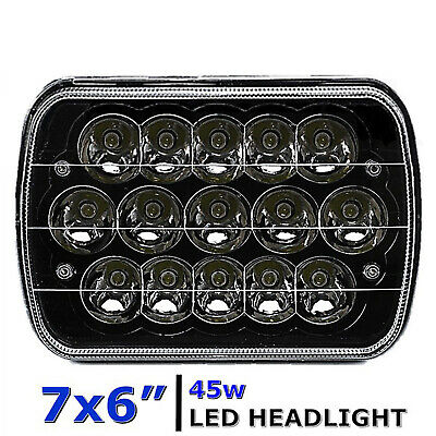"7X6"" Black LED HID Cree Light Bulbs Clear Sealed Beam Headlamp Headlight"