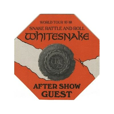 Whitesnake authentic 1987 Snake Rattle & Roll Tour Backstage Pass after show
