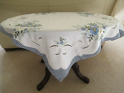 Vintage Hand-made WHITE TABLECLOTH  Blue/White decor